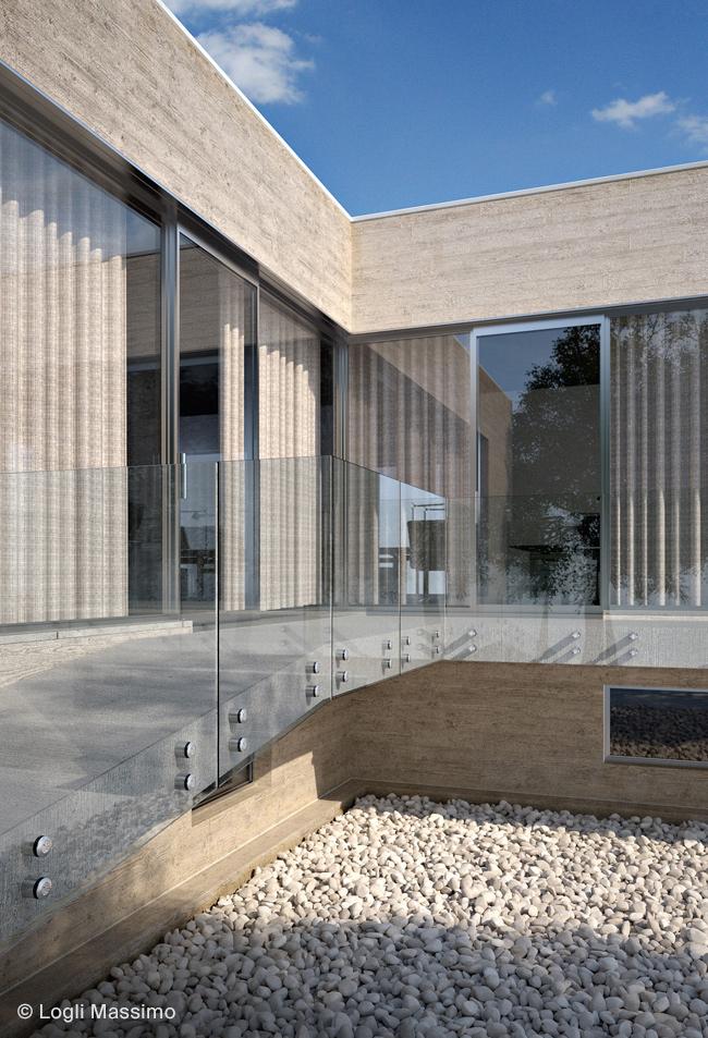 Balustrada sticla exterior sistem Logli Massimo Italia