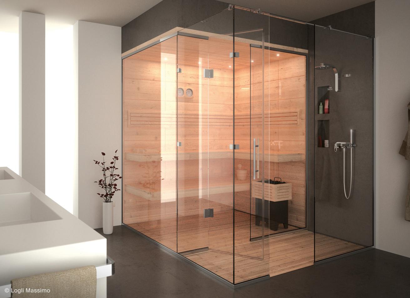 Cabina de dus sticla walk in shower sistem Logli Massimo